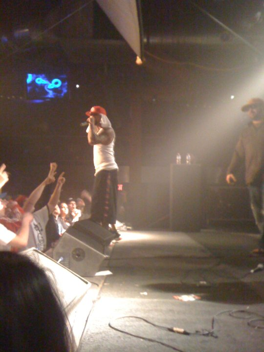 bad quality iPhone pic I took of Joey on stage w/ Slaughterhouse